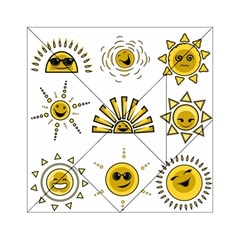 Sun Expression Smile Face Yellow Acrylic Tangram Puzzle (6  X 6 ) by Alisyart
