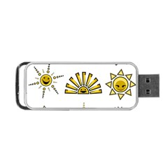 Sun Expression Smile Face Yellow Portable USB Flash (One Side) by Alisyart