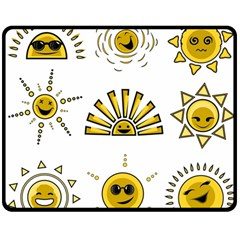 Sun Expression Smile Face Yellow Double Sided Fleece Blanket (medium)  by Alisyart