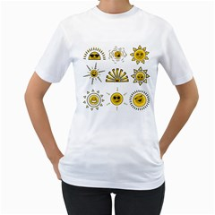 Sun Expression Smile Face Yellow Women s T Shirt (white)  by Alisyart