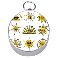 Sun Expression Smile Face Yellow Silver Compasses by Alisyart