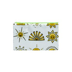Sun Expression Smile Face Yellow Cosmetic Bag (xs) by Alisyart