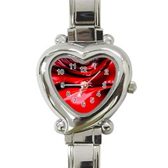 Red Fractal Mathematics Abstract Heart Italian Charm Watch by Amaryn4rt