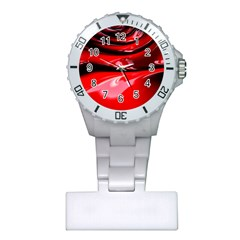 Red Fractal Mathematics Abstract Plastic Nurses Watch by Amaryn4rt