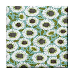 Sunflower Flower Floral Tile Coasters