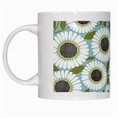 Sunflower Flower Floral White Mugs