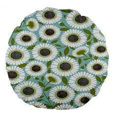 Sunflower Flower Floral Large 18  Premium Flano Round Cushions by Alisyart