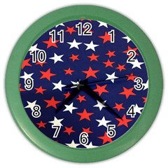 Star Red White Blue Sky Space Color Wall Clocks by Alisyart