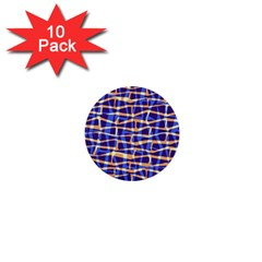 Surface Pattern Net Chevron Brown Blue Plaid 1  Mini Buttons (10 Pack)  by Alisyart