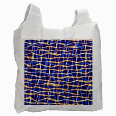 Surface Pattern Net Chevron Brown Blue Plaid Recycle Bag (one Side) by Alisyart