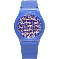 Surface Pattern Net Chevron Brown Blue Plaid Round Plastic Sport Watch (s) by Alisyart