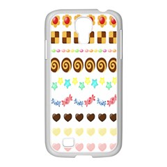 Sunflower Plaid Candy Star Cocolate Love Heart Samsung Galaxy S4 I9500/ I9505 Case (white)