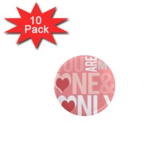 Valentines Day One Only Pink Heart 1  Mini Magnet (10 Pack)  by Alisyart