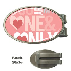 Valentines Day One Only Pink Heart Money Clips (oval)  by Alisyart