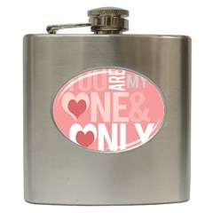 Valentines Day One Only Pink Heart Hip Flask (6 Oz) by Alisyart