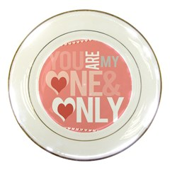 Valentines Day One Only Pink Heart Porcelain Plates by Alisyart