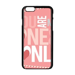 Valentines Day One Only Pink Heart Apple Iphone 6/6s Black Enamel Case by Alisyart