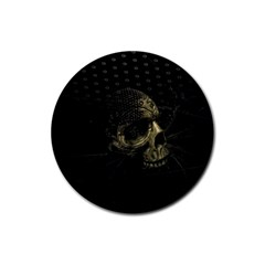 Skull Fantasy Dark Surreal Rubber Coaster (round)  by Amaryn4rt