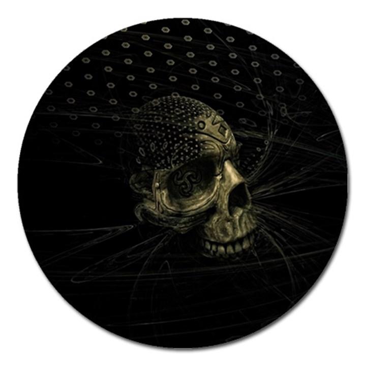 Skull Fantasy Dark Surreal Magnet 5  (Round)