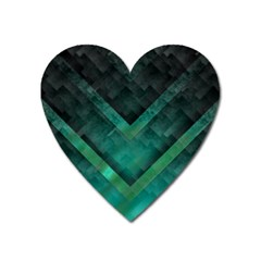 Green Background Wallpaper Motif Design Heart Magnet by Amaryn4rt