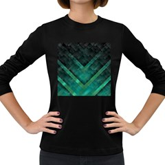 Green Background Wallpaper Motif Design Women s Long Sleeve Dark T Shirts