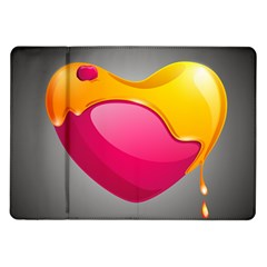 Valentine Heart Having Transparency Effect Pink Yellow Samsung Galaxy Tab 10 1  P7500 Flip Case by Alisyart