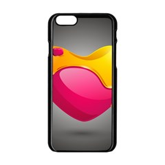 Valentine Heart Having Transparency Effect Pink Yellow Apple Iphone 6/6s Black Enamel Case by Alisyart