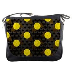 Sunflower Yellow Messenger Bags by Alisyart