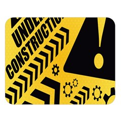 Under Construction Line Maintenen Progres Yellow Sign Double Sided Flano Blanket (large)  by Alisyart