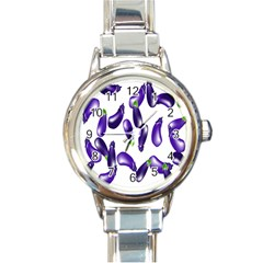 Vegetables Eggplant Purple Round Italian Charm Watch by Alisyart