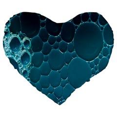 Water Bubble Blue Large 19  Premium Heart Shape Cushions by Alisyart