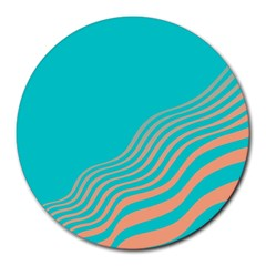 Water Waves Blue Orange Round Mousepads by Alisyart