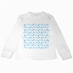 Water Rain Blue Kids Long Sleeve T Shirts