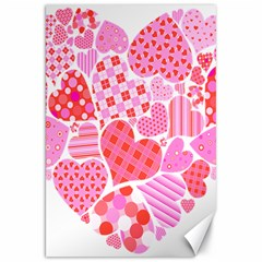 Valentines Day Pink Heart Love Canvas 20  X 30   by Alisyart