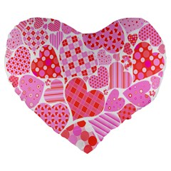 Valentines Day Pink Heart Love Large 19  Premium Heart Shape Cushions by Alisyart