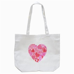 Valentines Day Pink Heart Love Tote Bag (White)