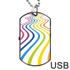Wave Rainbow Dog Tag Usb Flash (one Side) by Alisyart