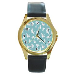 Origamim Paper Bird Blue Fly Round Gold Metal Watch by Alisyart