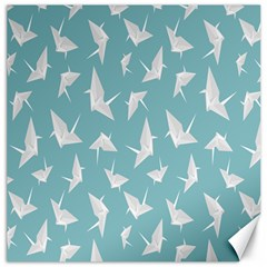Origamim Paper Bird Blue Fly Canvas 16  X 16   by Alisyart