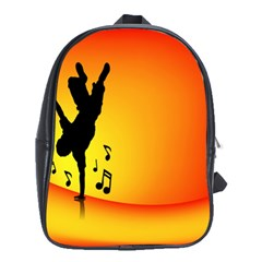 Breakdancer Dancing Orange School Bags (xl)  by Alisyart