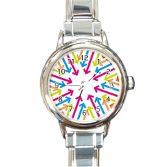 Arrows Pink Blue Orange Green Round Italian Charm Watch
