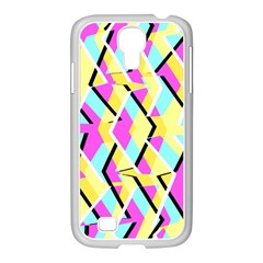 Bright Zig Zag Scribble Yellow Pink Samsung Galaxy S4 I9500/ I9505 Case (white) by Alisyart