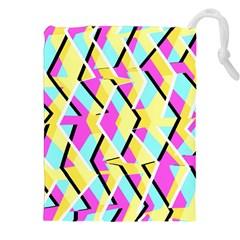 Bright Zig Zag Scribble Yellow Pink Drawstring Pouches (xxl) by Alisyart