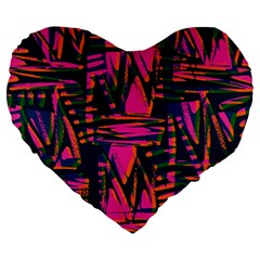 Bright Zig Zag Scribble Pink Green Large 19  Premium Flano Heart Shape Cushions by Alisyart