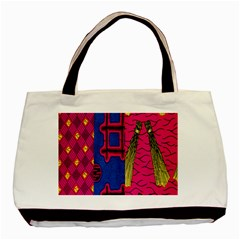 Broom Stick Gold Yellow Pink Blue Plaid Basic Tote Bag (two Sides) by Alisyart