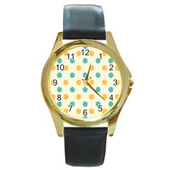 Circle Blue Orange Round Gold Metal Watch by Alisyart