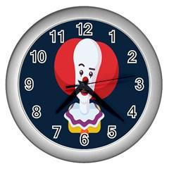 Clown Face Red Yellow Feat Mask Kids Wall Clocks (silver)  by Alisyart