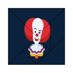 Clown Face Red Yellow Feat Mask Kids Acrylic Tangram Puzzle (6  X 6 ) by Alisyart