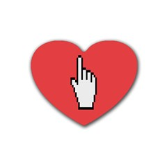 Cursor Index Finger White Red Rubber Coaster (heart)  by Alisyart