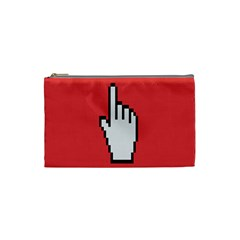 Cursor Index Finger White Red Cosmetic Bag (small)  by Alisyart
